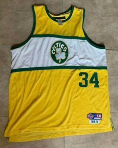 Reebok Paul Pierce #34 Boston Celtics Yellow Sleeveless Terrycloth Jersey 2XL