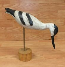 Unbranded Hand Painted Yard Ornament / Decoy White and Black Bird With Stand