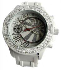 Diseñador estilo Iced todo blanco correa de goma Hiphop Bling Reloj