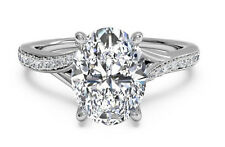 New Unique 2.40Ct White Oval Cut Diamond Engagement Wedding Ring 14K White Gold