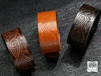 Viking Vikings Norse Celtic Knot Wide Real Leather Wrap Bracelet Wristband