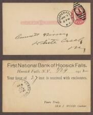S# Ux24 Postal Card 1912 First National Bank Of Hoosick Falls Ny - Dsfv