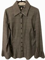 Womens Armani Jeans Long Sleeve Grey Check Blouse Shirt Size 14 Slim Fit Used