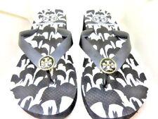 TORY BURCH Black White Logo Thong Wedge Flip Flop Sandals