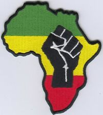 "5 Rasta Africa Map/Fist Embroidered Patches 3.25""x3"" iron-on"