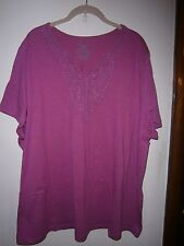 "RASPBERRY EMBROIDERED ""V"" NECK SHIRT SIZE 3X (22-34)"