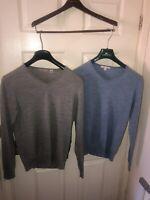 Mens Medium Designer Cashmere Wool Jumper Bundle Uniqlo 2 Sweaters Blue Grey M