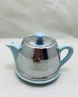 Vintage Pale blue Teapot With Metal Cover/Warmer Mini / novelty / ornament / use