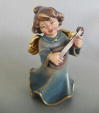 Engel mit Mandoline ca. 13,5 cm hoch, Holz geschnitzt bemalt, Holzengel  Nr. 11
