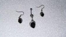 Purple Teardop Belly Button Navel Ring Body Jewelry Piercing Free Earrings Set