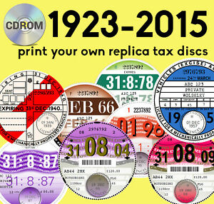 REPRODUCTION REPLICA ROAD TAX DISC Choose design   All years   Print from CDROM