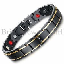 "8.7"" Mens Black Gold Tone Stainless Steel Magnetic Link Chain Bracelet *12MM"