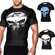 Modern Punisher Schädel Geist Schlank kurz Hemd T-Shirt Cosplay Tops Sport S-4XL