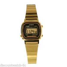 Casio LA670WGA-1 Ladies Gold Tone Stainless Steel Digital Retro Watch Black Dial