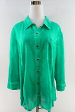 """Style & Company 3/4"""" Sleeve Stone Washed Button Down Blouse Size L Green"""