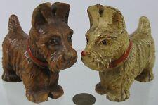 Vintage 1930's Press Wood Fiber Brown & White Scottie Dogs