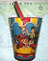 Original c1960 Tinplate Carousel Seaside Sand Pail Bucket US Metal Toy Mfcr Co