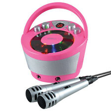 GROOV-E PORTABLE KARAOKE BOOMBOX WITH CD PLAYER AND TWO MICROPHONES - PINK