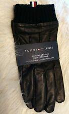 Tommy Hilfiger Mens Genuine Leather Fleece Lined Black Gloves Sz Med NWT Reg $99