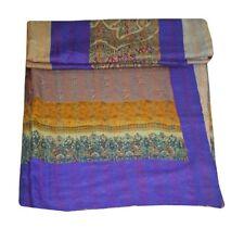 Silk Kantha Quilt Coverlet Vintage Patchwork Queen Kantha Bedspread Hippie Throw