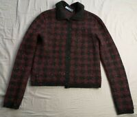 PRADA Women's Red Black Check Wool Blend Cardigan Size IT 40 Good Used Condition