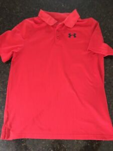 Boys Under Armour Polo Shirt Red Yxl XL Mint Condition