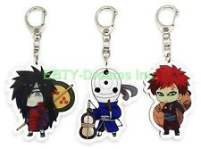 Set of 3 Naruto Anime Acrylic Keychain Uchiha Obito, Madara, Gaara