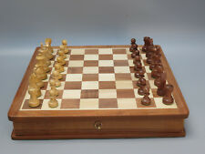"""CHESS SET SOLID SHEESHAM WOOD BOX WITH DRAWER GAME BOARD SET WITH PIECES 14"""""""