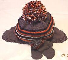 The Children's Place girl/boy gray/orange Multi Stripe Pom Pom hat&gloves Set,2T