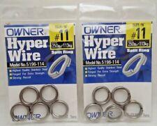 2pks Owner Hyper Wire Split Ring GT Popping Jigging 250lb/113kg Size # 11