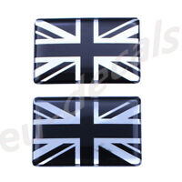 2X Black Chrome Union Jack flag 3D Decal domed 35X22mm