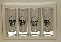 Set of 4 Skull Shot Glasses Shooters Tall Halloween Dessert Jello By Gibson New