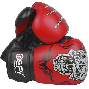 DEFY®  Boxing Gloves Leather Punch Training Sparring MMA Fight UFC Red Skull