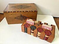 Vintage WOOD INLAY Poker Chips CADDY BOX Antique GAMBLING Set CARDS Vegas CASINO