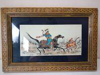 Stunning Vintage Persian Original Painting on Plastic Hunting Scene Inlaid Wood