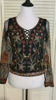 American Eagle Embroidered Long Sleeve Mesh Black Top Boho  Size Extra Small