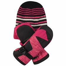 Free Country Kids' Hat and Mitten Set 3M Thinsulate Insulation Extra Warmth Rose
