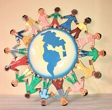 "Haitian Oil Drum Wall Art Painted ""Hands Around the World"" 23-Inch Handmade"