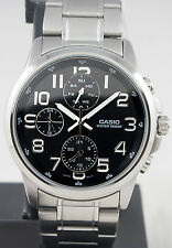 Casio MTP-E307D-1A Men's Black 3 Dials Watch Modern Stainless Steel New Model