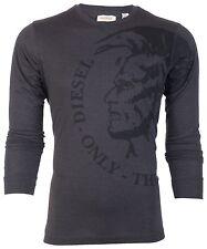DIESEL Mens LONG SLEEVE T-Shirt TRIK Mohawk CHARCOAL Casual Designer Jeans $98