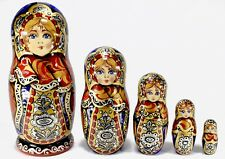 "6"" AUTHOR'S GORGEOUS AUTHENTIC RUSSIAN TRADITIONAL MATRYOSHKA NESTING DOLLS 5PCS"