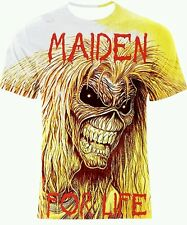 MAIDEN FOR LIFE DOUBLE SIDE FULL PRINT MULTI COLOR ART T-SHIRT! All SIZES!