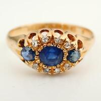 1902 Antique 18Ct Yellow Gold Sapphire & Diamond Three Stone Ring