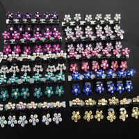 6/12 PCS Girls Sweet Rhinestone Crystal Flower Mini Hair Claws Clips Clamps Y1