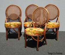 Four Vintage Mid Century Modern Orange Floral Cane & Bamboo Dining Room Chairs