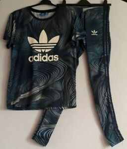 Adidas Matching Leggings & Tshirt Size 8 Geology print  Exercise Running Gym