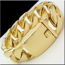 31MM MEN'S TOP QUALITY GOLD HUGE HEAVY CUBAN CURB CHAIN STAINLESS STEEL BRACELET
