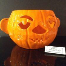 Vintage JACK O LANTERN Bisque Porcelain Ceramic Candy Pot Pumpkin HALLOWEEN