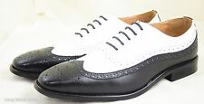La Milno Mens Dress Shoes Black White 2 Tones, Oxfords Wing Tip, Genuine Leather