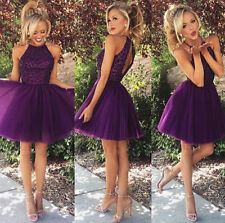 Purple Beaded Tulle Short Homecoming Dress Prom Cocktail Ball Party Formal Dress